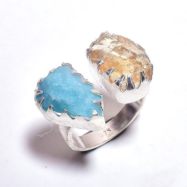 Citrine Amazonite Raw Gemstone 925 Sterling Silver Ring Size 7.75 Adjustable