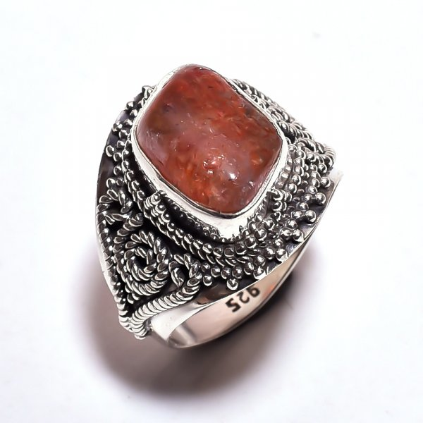 Sunstone Raw Gemstone 925 Sterling Silver Ring Size 8