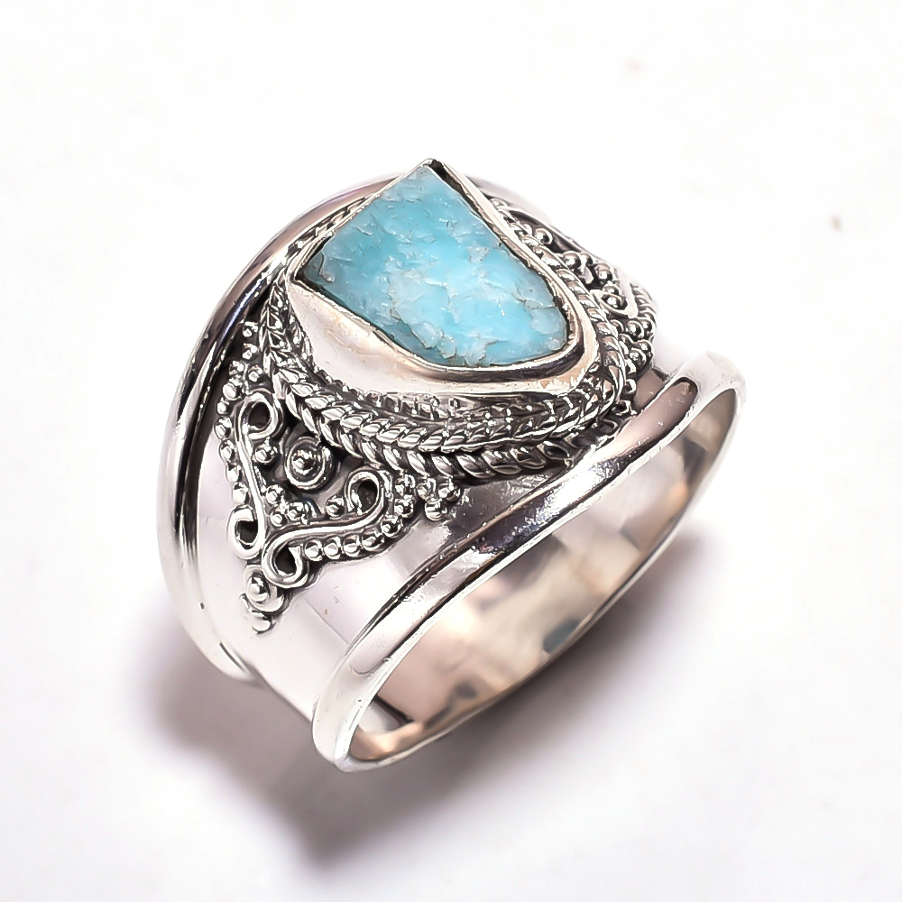 Amazonite Raw Gemstone 925 Sterling Silver Ring Size 9.5