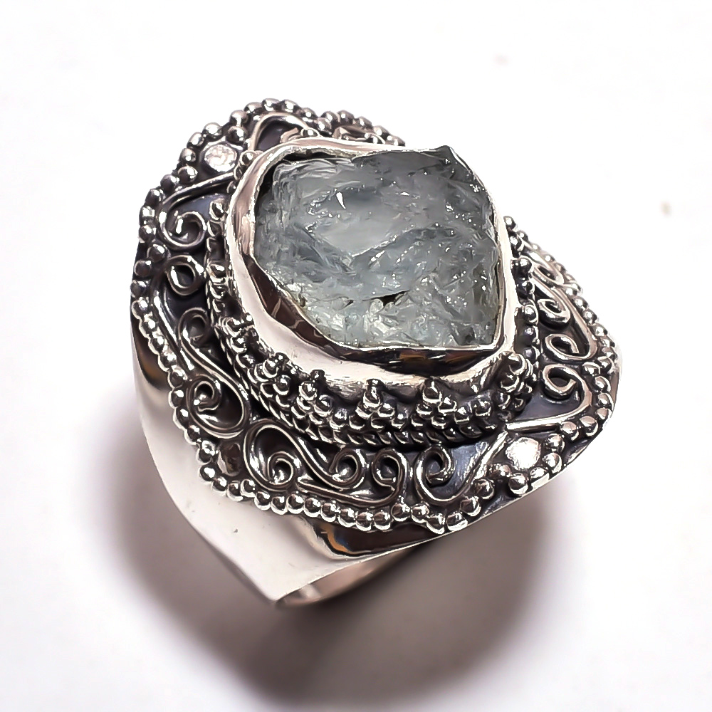 Aquamarine Raw Gemstone 925 Sterling Silver Ring Size 8.25