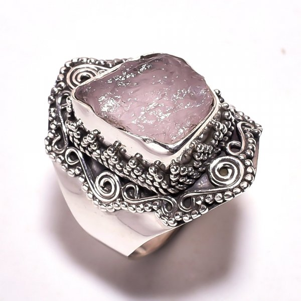 Roze Quartz Raw Gemstone 925 Sterling Silver Ring Size 6.25