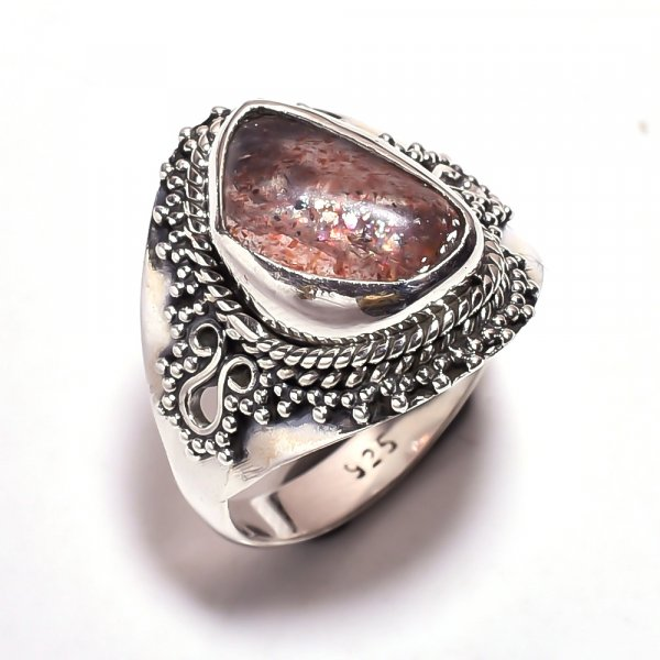 Sunstone Raw Gemstone 925 Sterling Silver Ring Size 7.75