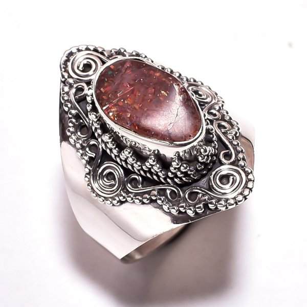 Sunstone Raw Gemstone 925 Sterling Silver Ring Size 8.25