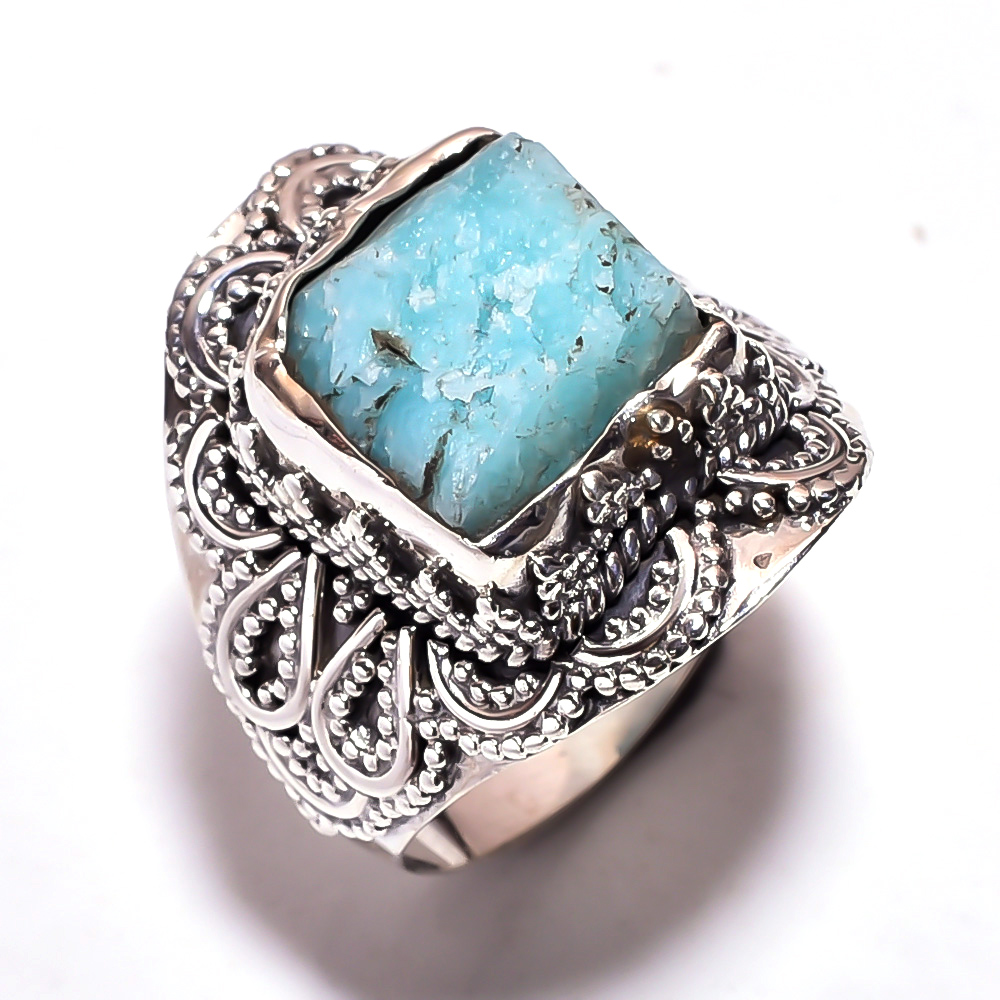 Amazonite Raw Gemstone 925 Sterling Silver Ring Size 9.25