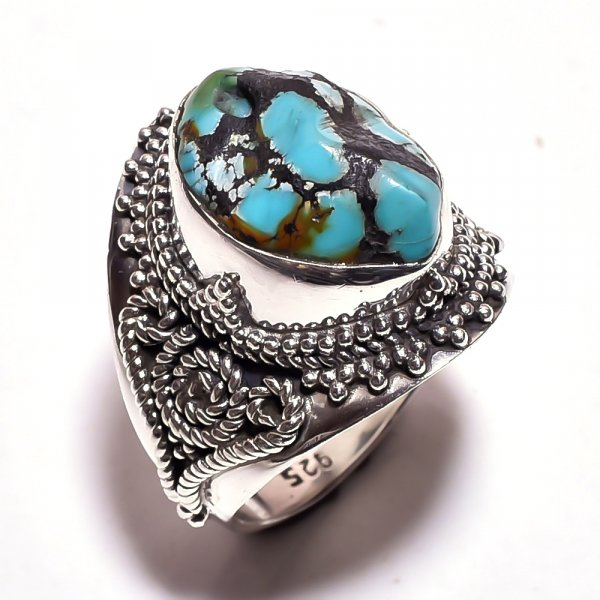 Turquoise Raw Gemstone 925 Sterling Silver Ring Size 6.75