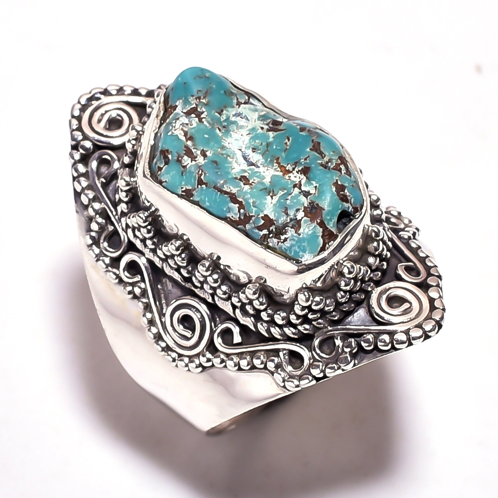 Turquoise Raw Gemstone 925 Sterling Silver Ring Size 5.25
