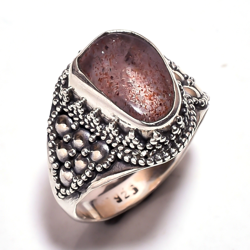 Sunstone Raw Gemstone 925 Sterling Silver Ring Size 7