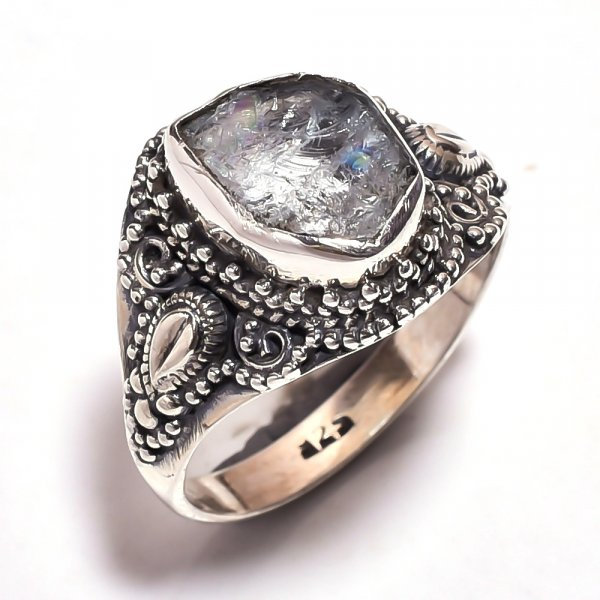 Aquamarine Raw Gemstone 925 Sterling Silver Ring Size 9.25