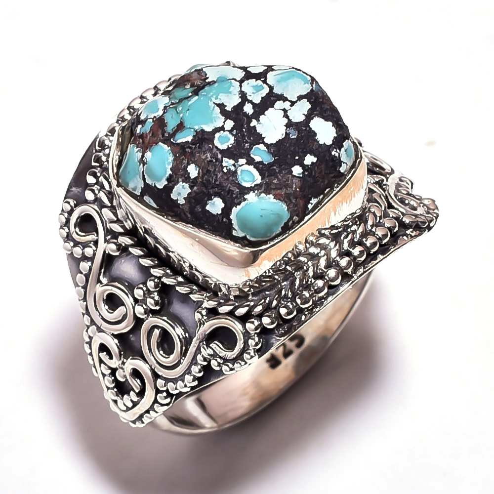 Turquoise Raw Gemstone 925 Sterling Silver Ring Size 8.5