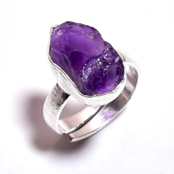 Amethyst Raw Gemstone 925 Sterling Silver Ring Size 7 Adjustable