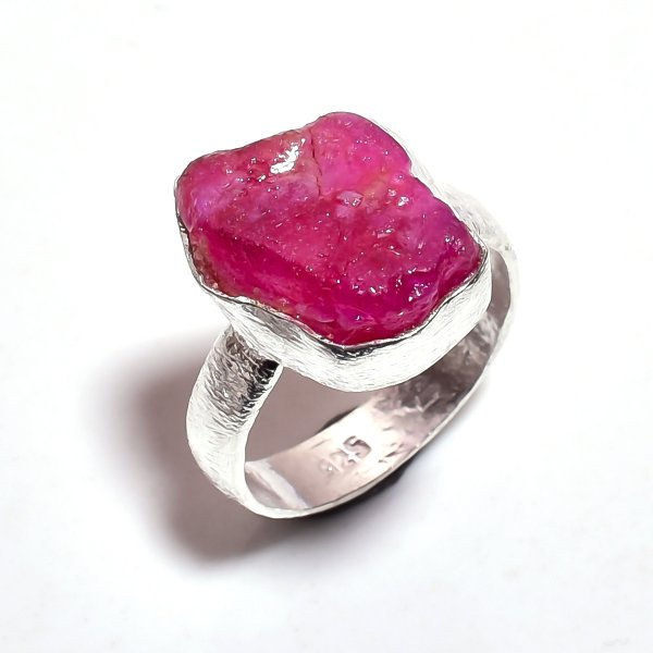 Corundum Ruby Raw Gemstone 925 Sterling Silver Ring Size 7