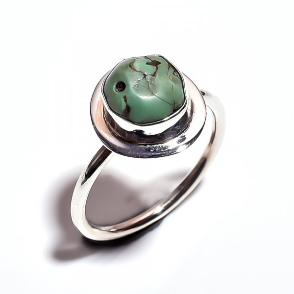 Turquoise Raw Gemstone 925 Sterling Silver Ring Size 7.5