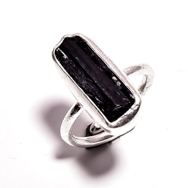 Black Tourmalinea Raw Gemstone 925 Sterling Silver Ring Size 7 Adjustable