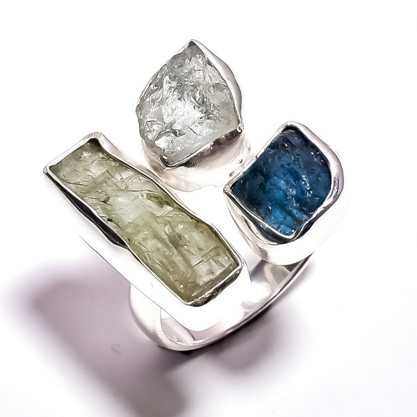 Aquamarine Green Kyanite Raw Gemstone 925 Sterling Silver Ring Size 8.25 Adjustable