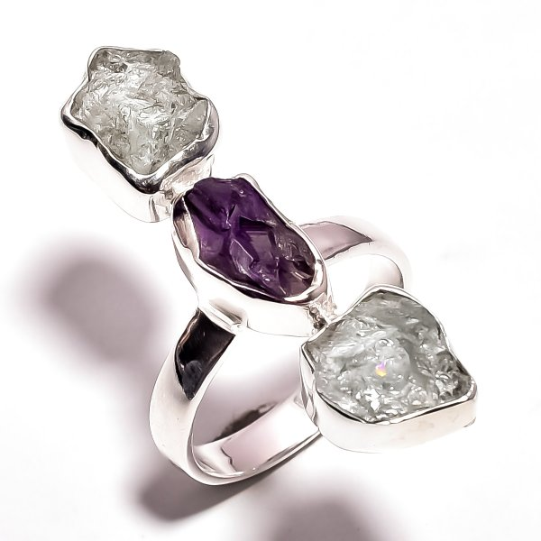 Amethyst Aquamarine Raw Gemstone 925 Sterling Silver Ring Size 7.75