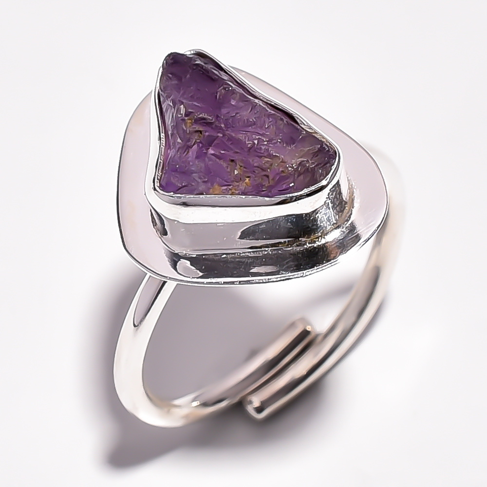 Amethyst Raw Gemstone 925 Sterling Silver Ring Size 7.75