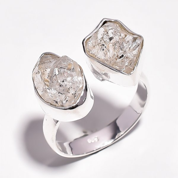 Herkimer Diamond Raw Gemstone 925 Sterling Silver Ring Size 8.25 Adjustable