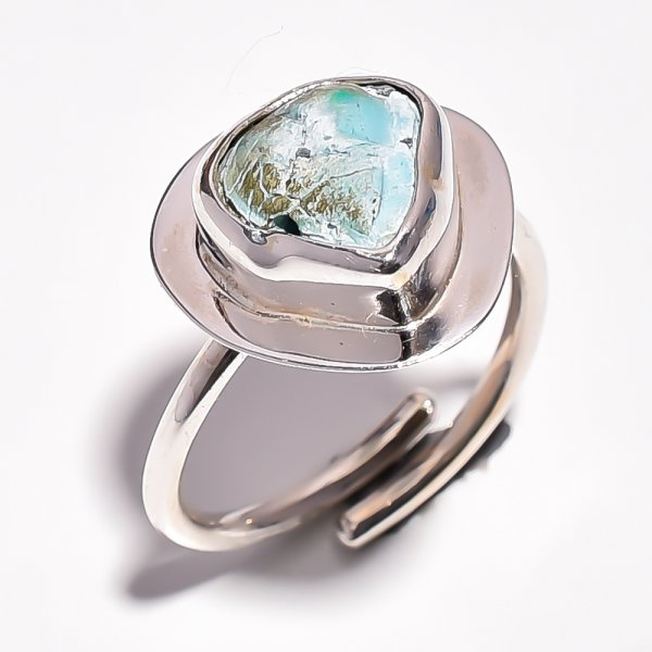 Turquoise Raw Gemstone 925 Sterling Silver Ring Size 7.75 Adjustable