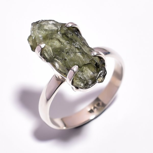 Moldavite Raw Gemstone 925 Sterling Silver Ring Size 8.5