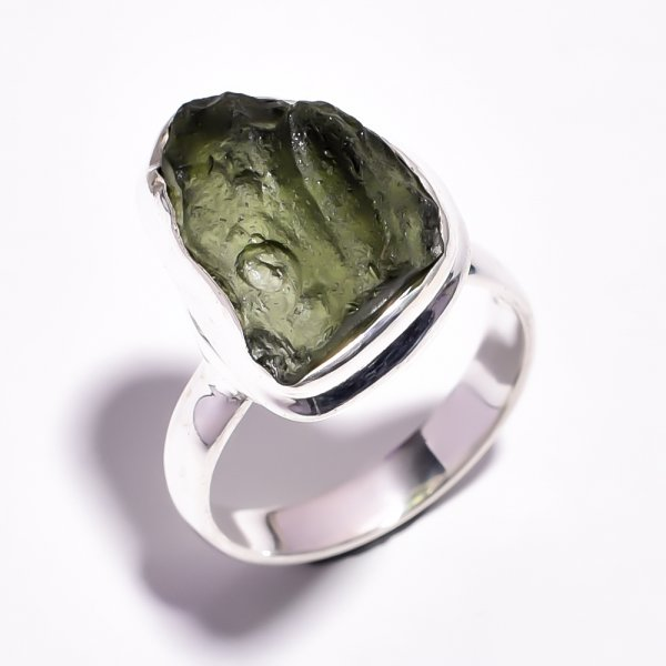 Moldavite Raw Gemstone 925 Sterling Silver Ring Size 7