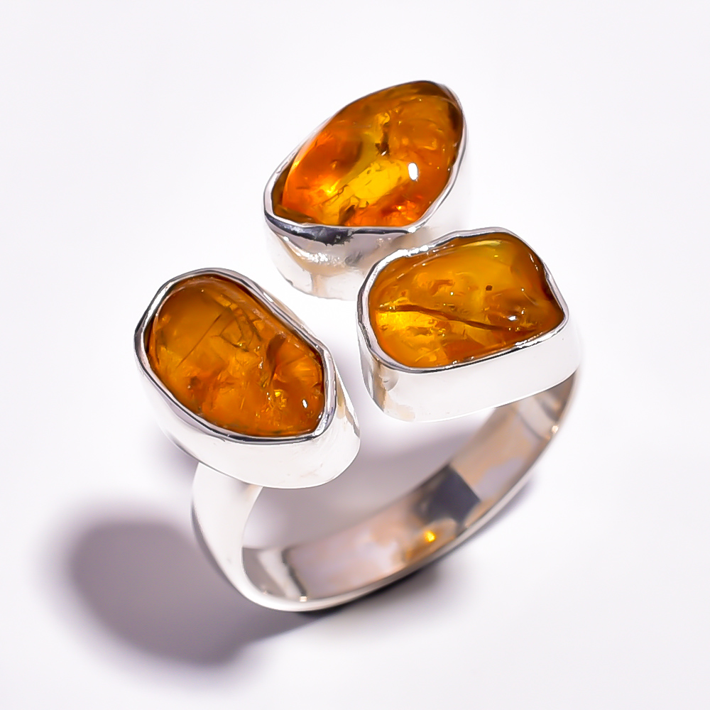 Raw Amber Gemstone 925 Sterling Silver Adjustable Ring