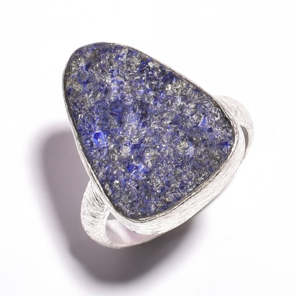 Lapis Raw Gemstone 925 Sterling Silver Ring Size 6.75