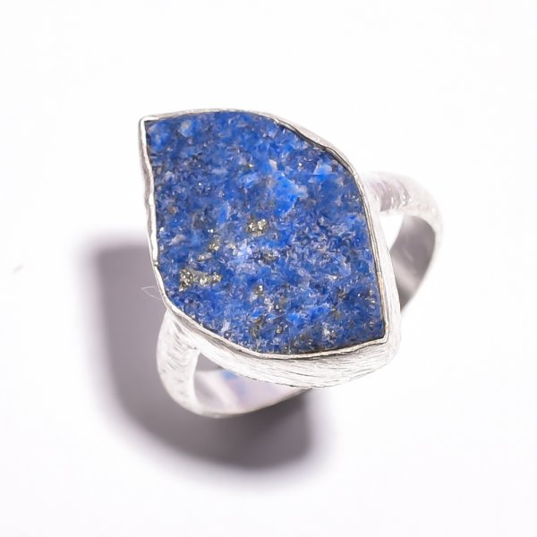 Lapis Raw Gemstone 925 Sterling Silver Ring Size 7.25