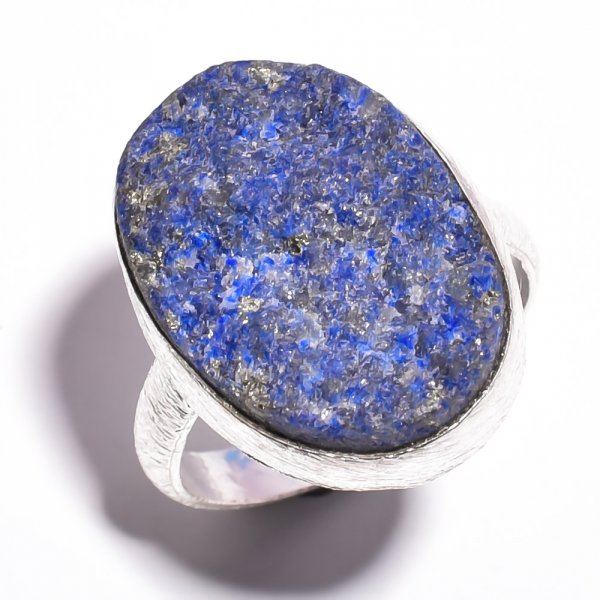 Lapis Raw Gemstone 925 Sterling Silver Ring Size 8