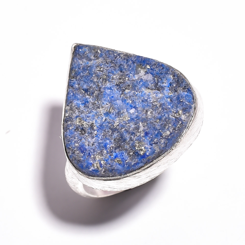 Lapis Raw Gemstone 925 Sterling Silver Ring Size 7.5