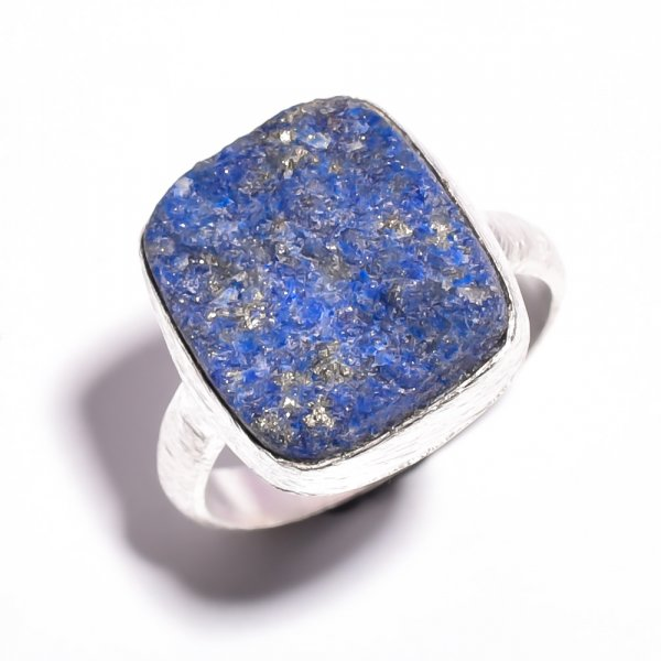 Lapis Raw Gemstone 925 Sterling Silver Ring Size 7