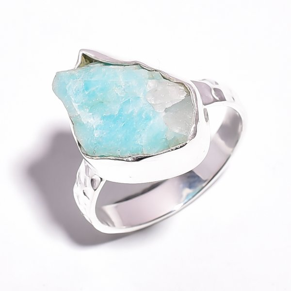 Amazonite Raw Gemstone 925 Sterling Silver Ring Size 7.25