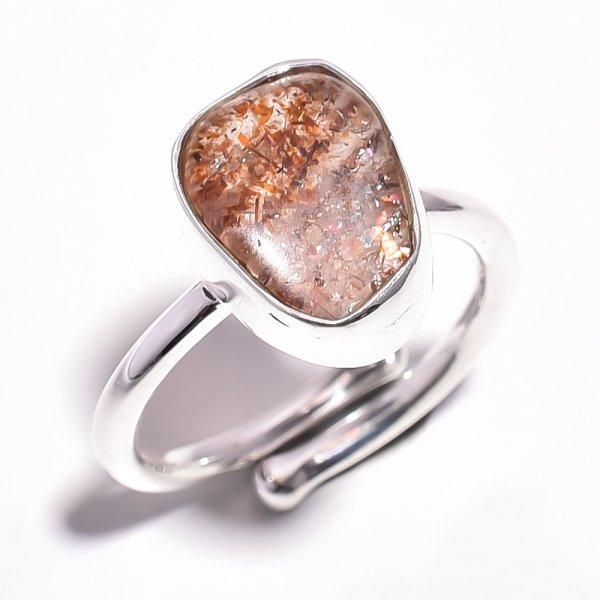 Sunstone Raw 925 Sterling Silver Ring Size 7 Adjustable