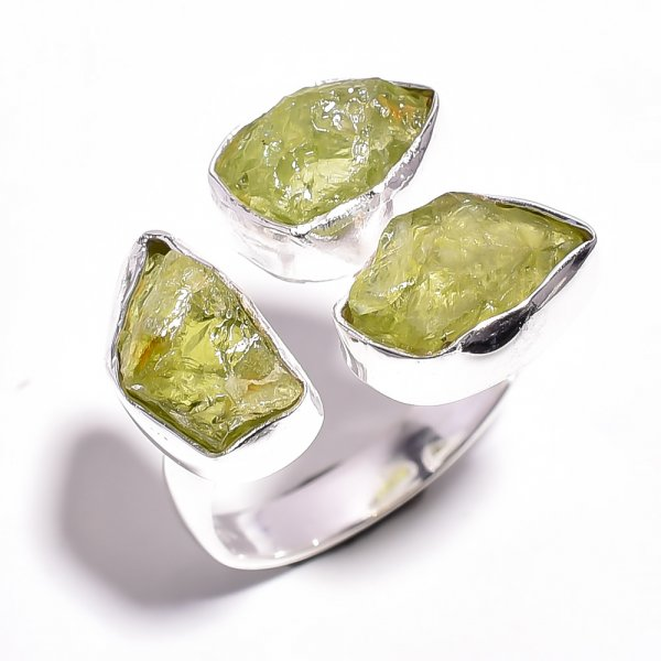 Peridot Raw Gemstone 925 Sterling Silver Adjustable Ring
