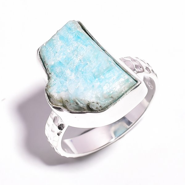 Amazonite Raw Gemstone 925 Sterling Silver Ring Size 8