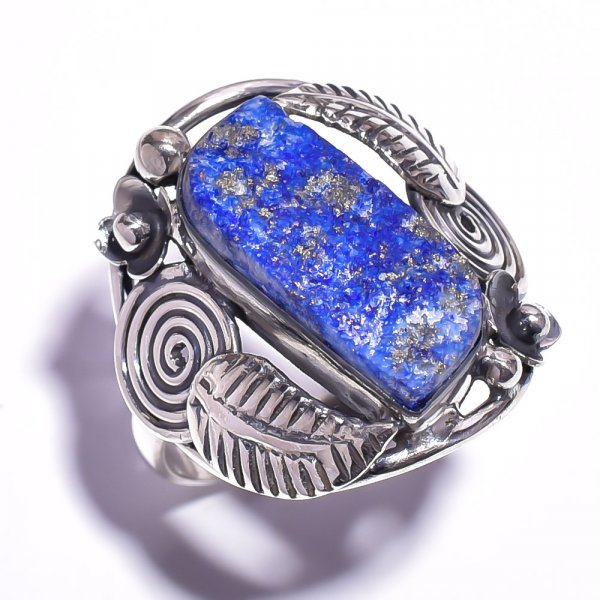 Lapis Raw Gemstone 925 Sterling Silver Ring Size 9.75