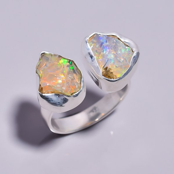 Ethiopian Opal Raw Gemstone 925 Sterling Silver Ring Size 7 Adjustable