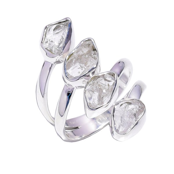 Herkimer Diamond Raw Gemstone 925 Sterling Silver Ring