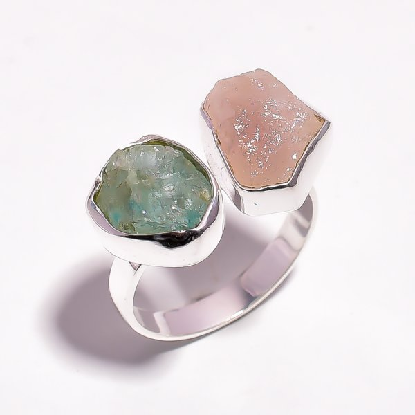 Aquamarine Rose Quartz Raw Gemstone 925 Sterling Silver Adjustable Ring