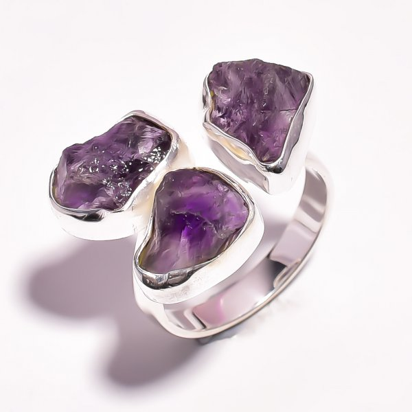 Amethyst Raw Gemstone 925 Sterling Silver Ring Size US 7.5 Adjustable