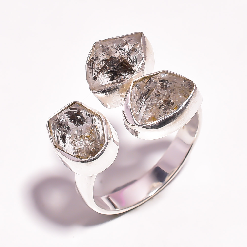 Herkimer Diamond Raw Gemstone 925 Sterling Silver Ring Size US 9 Adjustable