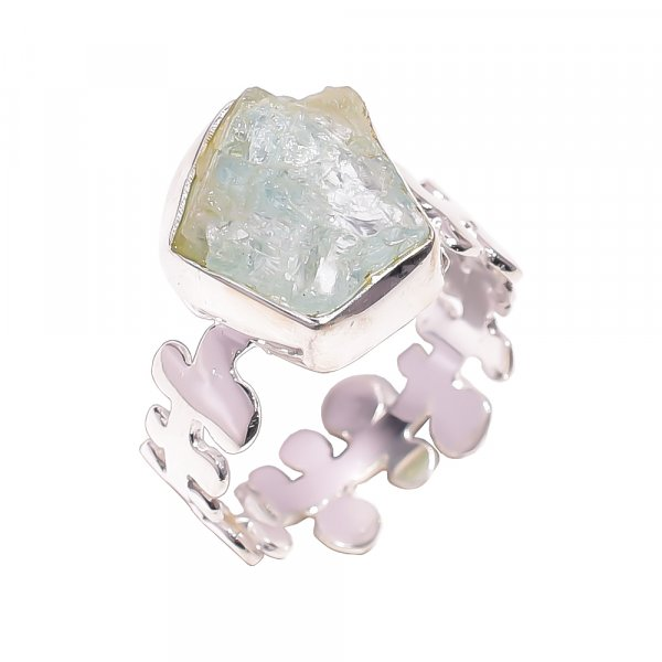 Aquamarine Raw Gemstone 925 Sterling Silver Ring Size US 8.25