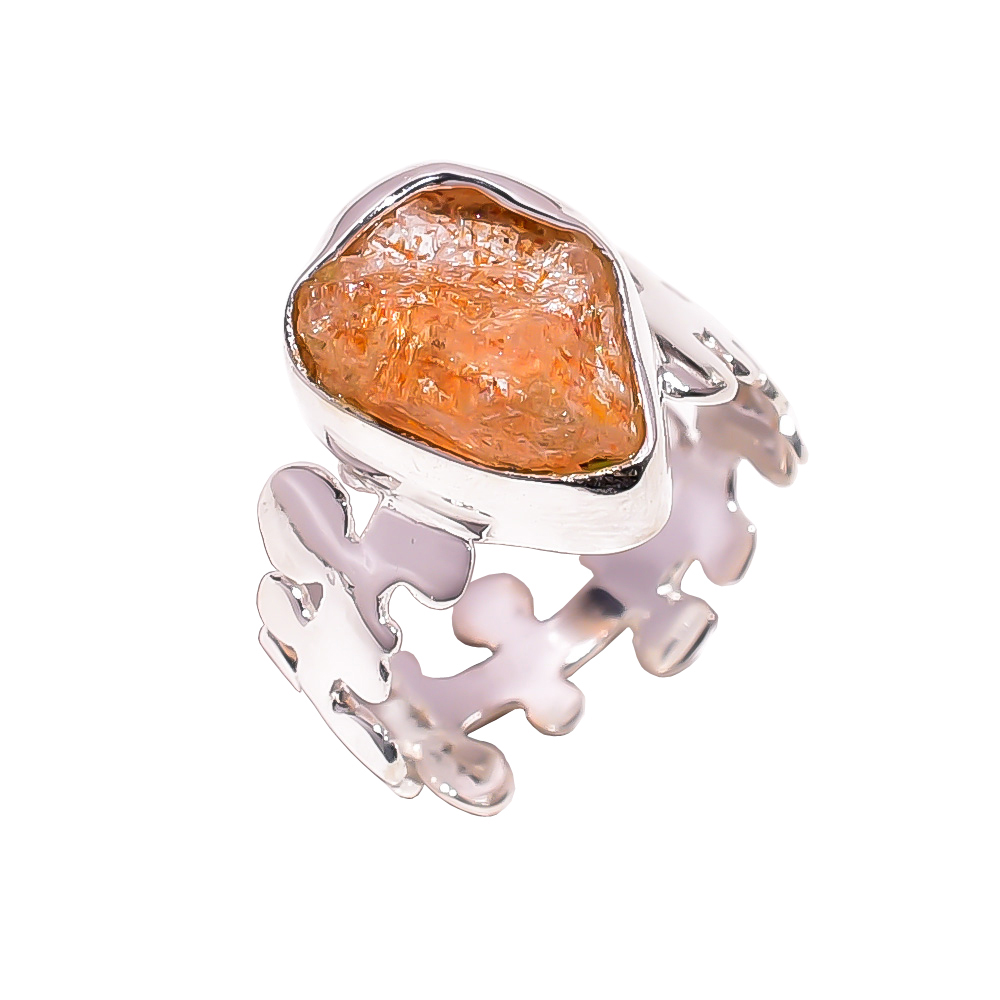Sunstone Raw Gemstone 925 Sterling Silver Ring Size US 6.25