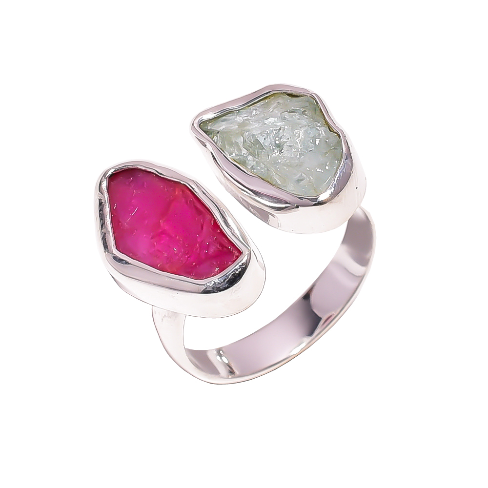 Aquamarine Corundum Ruby Raw Gemstone 925 Sterling Silver Ring Size US 6.75 Adjustable
