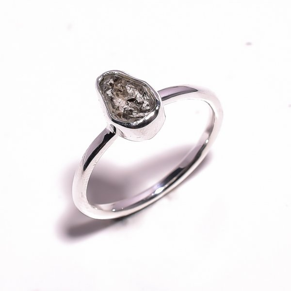 Herkimer Diamond Raw Gemstone 925 Sterling Silver Ring Size US 9.75