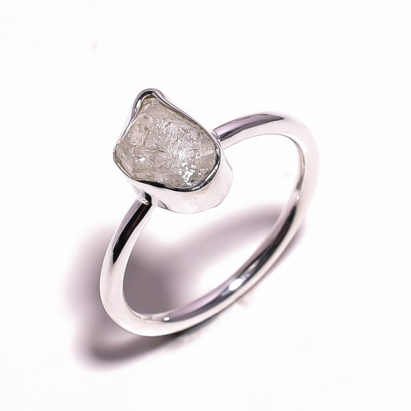 Herkimer Diamond Raw Gemstone 925 Sterling Silver Ring Size US 10