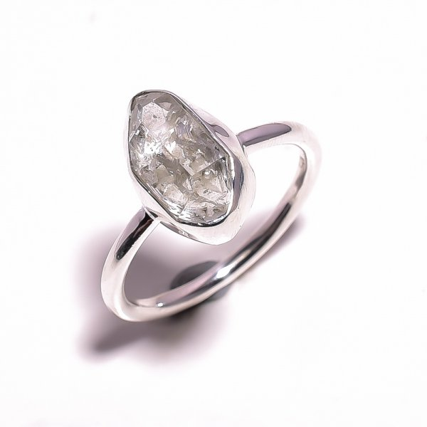 Herkimer Diamond Raw Gemstone 925 Sterling Silver Ring Size US 9