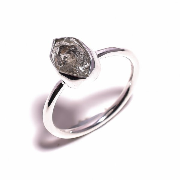 Herkimer Diamond Raw Gemstone 925 Sterling Silver Ring Size US 10.25