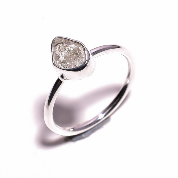 Natural Herkimer Diamond 925 Sterling Silver Ring Size US 10