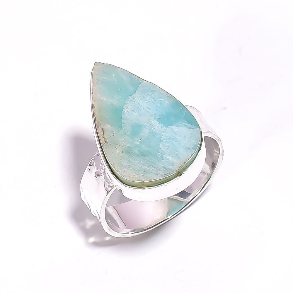 Amazonite Raw Gemstone 925 Sterling Silver Ring Size US 7