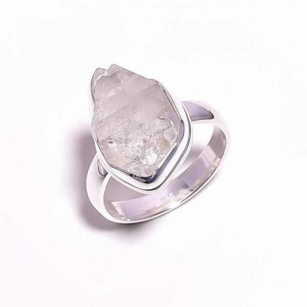 Herkimer Diamond Raw Gemstone 925 Sterling Silver Ring Size US 8.5